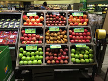 Apples being displayed In A Supermarket. Various kinds of Apples being sold for sale Royalty Free Stock Photo