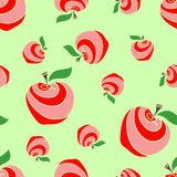 Apples 02. Big and small colored apples on the green background. Pattern Royalty Free Illustration