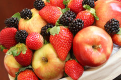 Apples, blackberries and strawberries Royalty Free Stock Photos