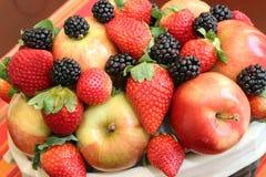 Apples, blackberries and strawberries Stock Photos