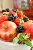 Apples, blackberries and strawberries Stock Images