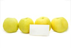 Apples with Blank Card Royalty Free Stock Photos