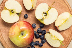 Apples and blueberry. Apples , banana, blueberry royalty free stock image