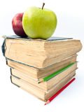 Apples on Books Stock Images