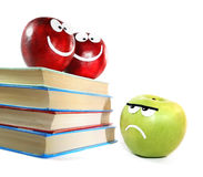 Apples and books. Composition from apples and books symbolise importance of training Royalty Free Stock Images