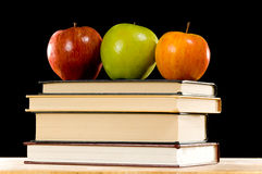 Apples and Books Stock Photos