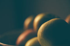 Apples in a bowl, retro toned Stock Photography