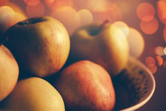 Apples in a bowl, retro toned Stock Image
