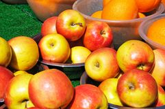 Apples in bowls at the market. Stock Photography