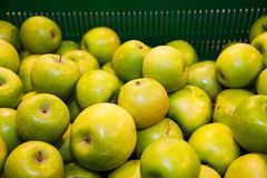 Apples on boxes in supermarket Royalty Free Stock Image