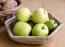 Apples and bread Royalty Free Stock Photos