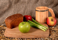 Apples,bread kvass straw with burlap Stock Photo