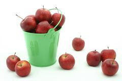 Apples in a bucket 1. Lovely apples in a green bucket stock photo