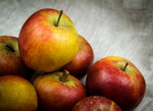 Apples on canvas Royalty Free Stock Images