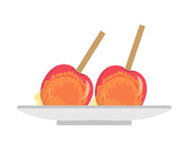 Apples in caramel, icon flat, cartoon style. Candy apple isolated on white background. Vector illustration, clip-art. Apples in caramel, icon flat, cartoon Stock Photos