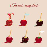 Apples in caramel. Vector illustration depicting apples in caramel and chocolate on a stick Royalty Free Stock Image