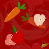 Apples and carrots on dark-red background Royalty Free Stock Photography