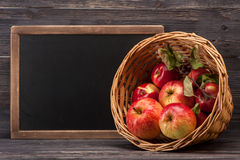 Apples and chalk board Royalty Free Stock Photos