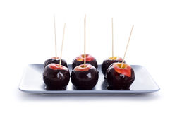 Apples in chocolate Stock Image