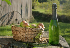 Apples and Cider in Sun Stock Photos