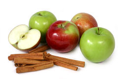 Apples and cinnamon (2). Granny smith and mcintosh apple with cinnamon Stock Images