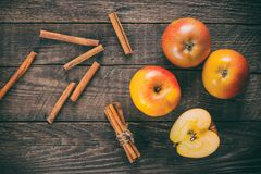 Apples with cinnamon Stock Image