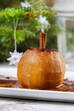 Apples with cinnamon on jute napkin Royalty Free Stock Photo