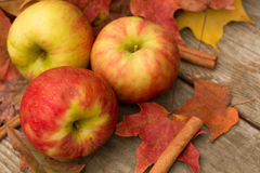 Apples, Cinnamon Sticks and Fall leaves Royalty Free Stock Photos