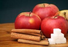 Apples and cinnamon Stock Photos
