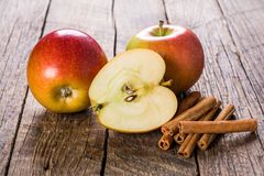 Apples with cinnamon stock photos