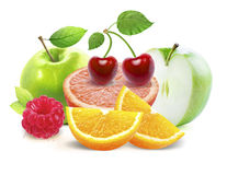 Apples and cirtus, cherry, raspberry  with clipping path Royalty Free Stock Photo