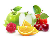 Apples and cirtus, cherry, raspberry isolated with clipping path Royalty Free Stock Images