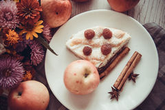 Apples and cottage cheese kisch Stock Images