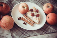 Apples and cottage cheese quiche. Delicious cottage cheese quiche on plate Royalty Free Stock Photography
