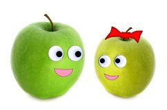 Apples couple. Over white background Royalty Free Stock Photography