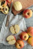 Apples on a cutting board Stock Images