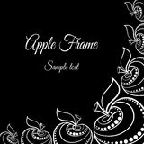 Apples. Decorative frame made from hand-drawn white apples on the black background Royalty Free Stock Photography