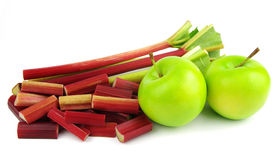 Apples and diced rhubarb Stock Photo