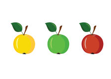 3 apples of different colors on a white background Stock Photography
