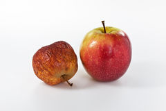 Apples in different stages of ageing Stock Image