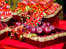 Apples with Double Happiness Chinese Character (Xuangxi) Royalty Free Stock Photo