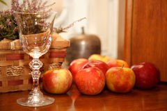 Apples and empty wine glass on a shelf Stock Image