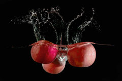 Apples fell into the water Royalty Free Stock Photo