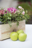 Apples and flowers Stock Photos