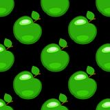 Apples. Fruits. Seamless pattern. Green elements, black background. Apples. Fruits. Seamless pattern Green elements black background Royalty Free Stock Images