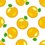 Apples. Fruits. Seamless pattern. Yellow elements, white background. Apples. Fruits. Seamless pattern Yellow elements white background vector illustration