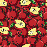 Apples fruits sketch drawing seamless background Stock Photos