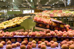 Apples fruits supermarket grocery store stock photos