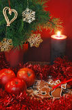 Apples, Gingerbread And Candle Stock Photos