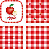 Apples & Gingham Seamless Patterns. Fresh apple and apple slice, label tag, 3 checkered gingham patterns in red and white. EPS8 file includes 3 pattern swatches Stock Photos